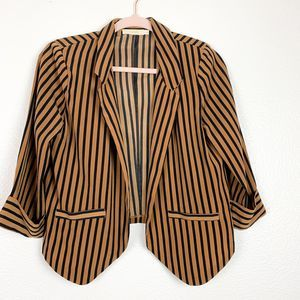 Lush Vertical Stripe 3/4 Sleeve Open Front Blazer
